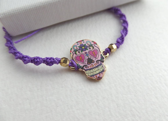 Day of the Dead Sugar Skull Bracelet, Purple Cord Bracelet,