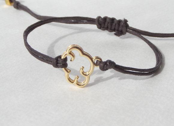 Gold Cloud Bracelet, Chocolate Brown Cord Bracelet