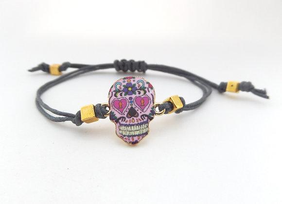 Day of the Dead Bracelet, Cord Bracelet, Gold Sugar Skull