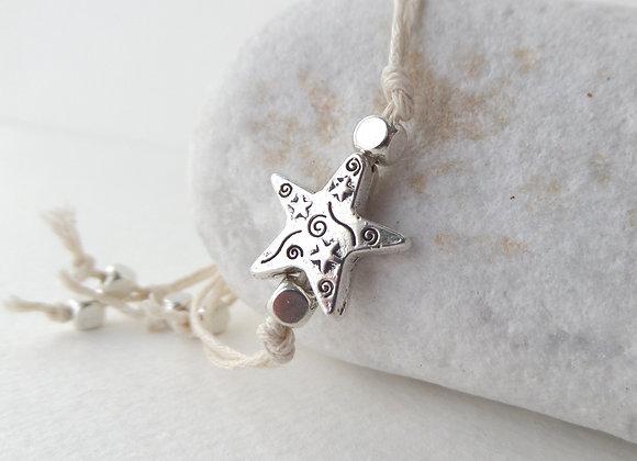 Silver Star Bracelet, Cream Cotton Cord Bracelet