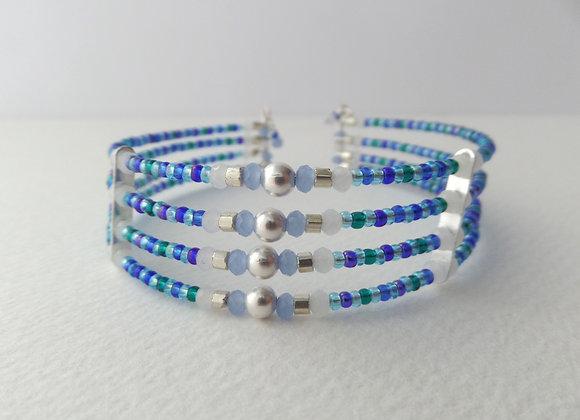 Cuff Bracelet, Blue Aqua Teal Green, Opal Crystal, Silver Bracelet