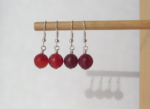Red Agate Earrings, Faceted Semi-precious Dangle Silver Earrings