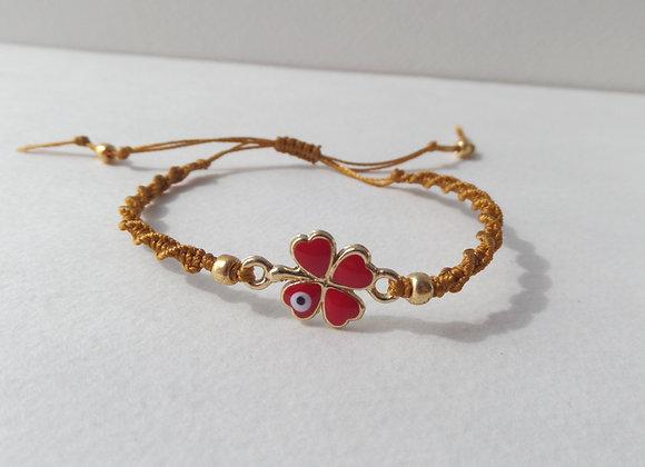Gold Four Leaf Clover Bracelet, Antique Gold Cord Bracelet