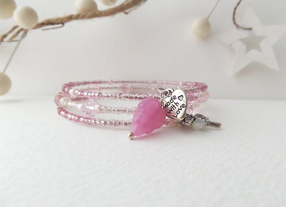 Pink Crystal Bracelet, Beaded Memory Bangle