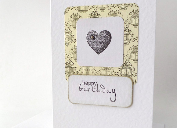Birthday Card, Gold and Black