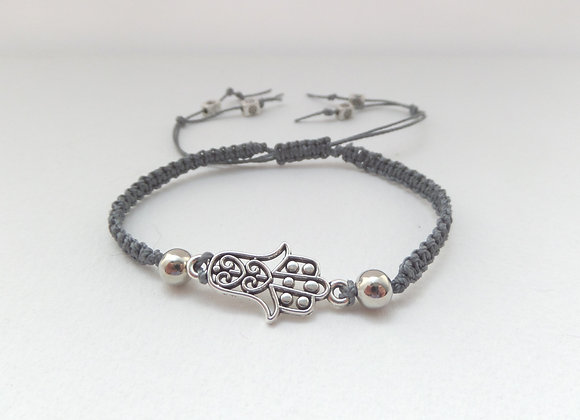 Macramé Hamsa Hand Bracelet, Grey Cord Bracelet, Tibetan Silver