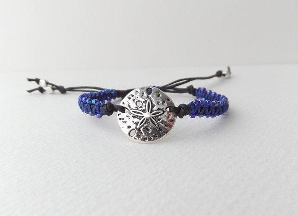 Silver Sand Dollar Bracelet, Beaded Blue Macrame, Black Cord Bracelet