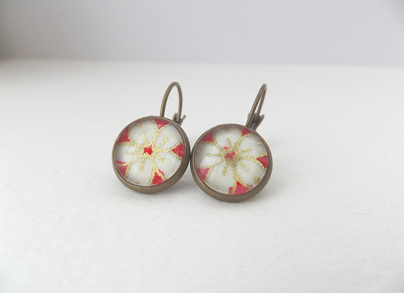 Japanese Flower Earrings, Antique Bronze Dangle Earrings