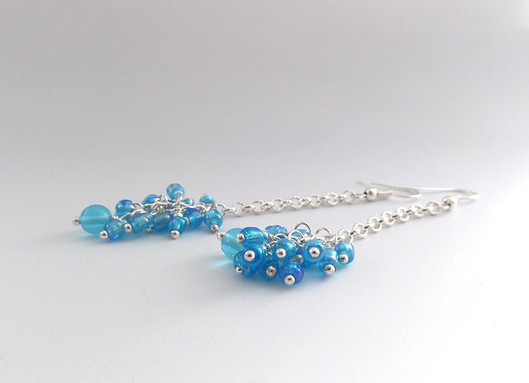Turquoise Cluster Chain Silver Earrings.