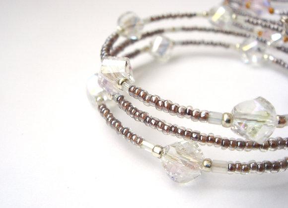 Clear Crystal Bracelet, Mink Slim Memory Bangle