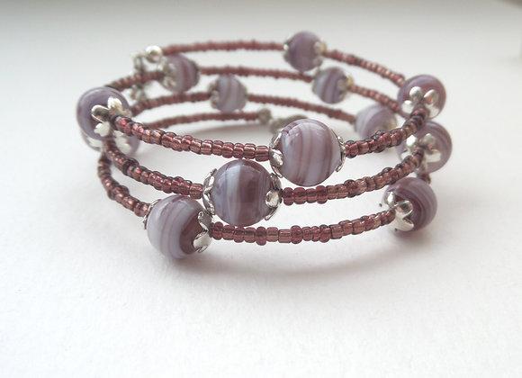 Burgundy and Silver Bangle/bracelet Set