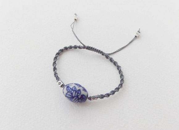 Chinese Bead Macrame Bracelet, Grey Cord Bracelet