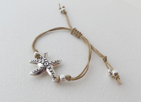 Silver Starfish Bracelet, Beige Cotton Cord Bracelet, Tibetan Silver