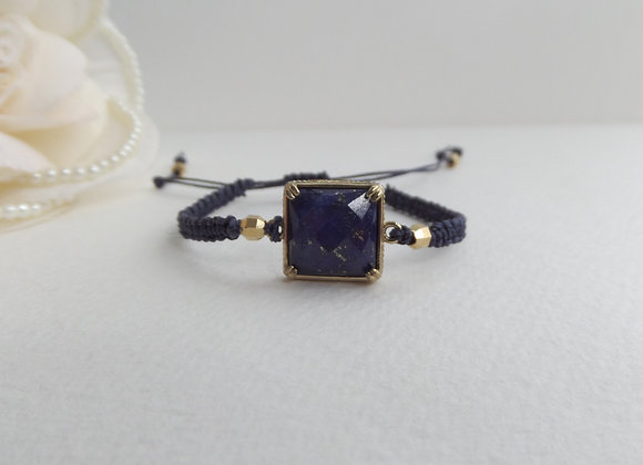 Lapis Lazuli Square Bracelet, Antique Gold Navy Blue Bracelet