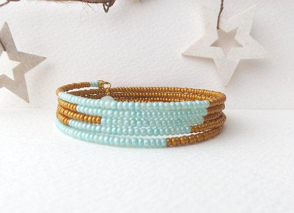 Caramel and Aqua Bangle, Modern Gold Bracelet