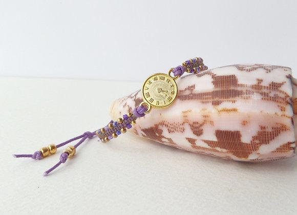 Gold Clock Face Bracelet, Gold and Purple Cotton Cord Bracelet