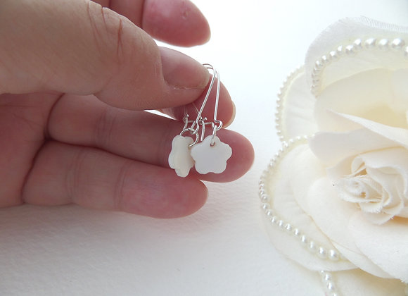 Mother Of Pearl Flower Earrings, Silver Kidney Wire Dangle Earrings