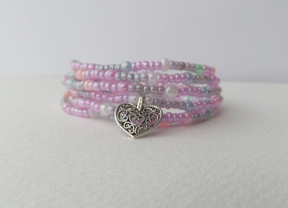 Pearly Multi Wrap Stretch Bracelet, Beaded Elastic, Silver Charm