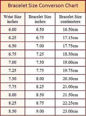bracelets lenghts in cms and inches