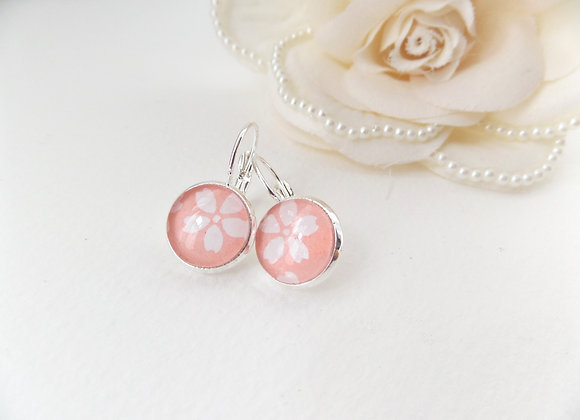 Blush Pink Earrings, White Flower, Hinged Dangle Japanese Earrin