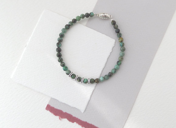 African Turquoise Gemstone Beaded Bracelet, Magnetic Clasp