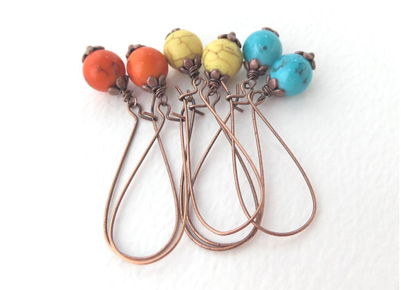 Antique Copper Kidney Wire Bright Bead Earrings