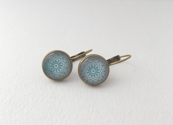 Aqua Blue Lace Earrings, Antique Bronze Dangle Earrings