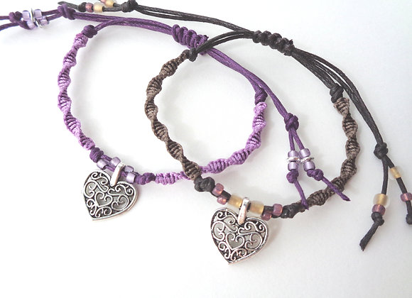 Silver Heart Charm Macrame Adjustable Cord Bracelet