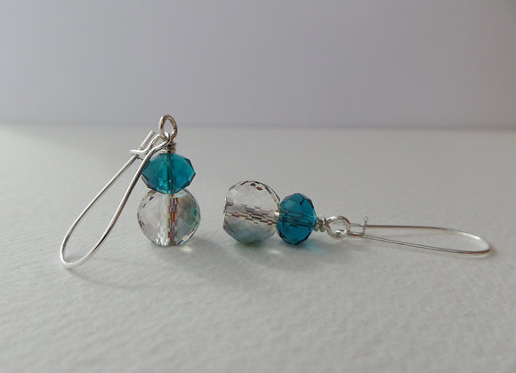 Teal Crystal Earrings, Silver Kidney Hook, Silver Earrings