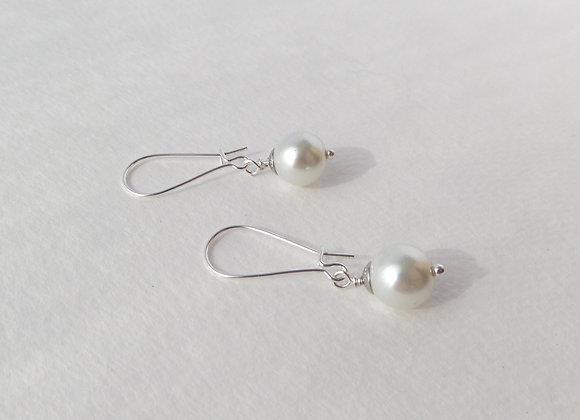 Classic Pearl Earrings, Silver Kidney Hook, Silver Earrings