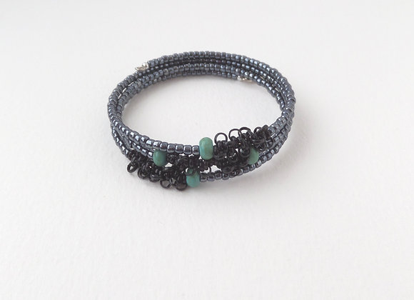 Blue Black, Turquoise and Gunmetal Silver Bangle/Bracelet