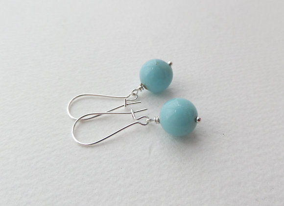 Light Turquoise Earrings, Aqua Kidney Hook Silver Earrings