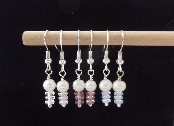 Freshwater Pearl, Ivory Pearl, Pearl and Quartz Silver Earrings