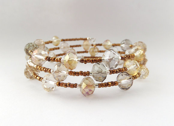 Topaz Crystal, Bronze Bangle/Bracelet Set
