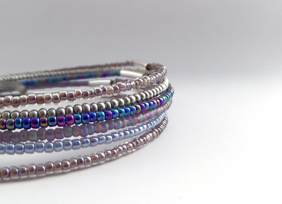 Winter Bangle Set, Six separate Bangles in seed beads