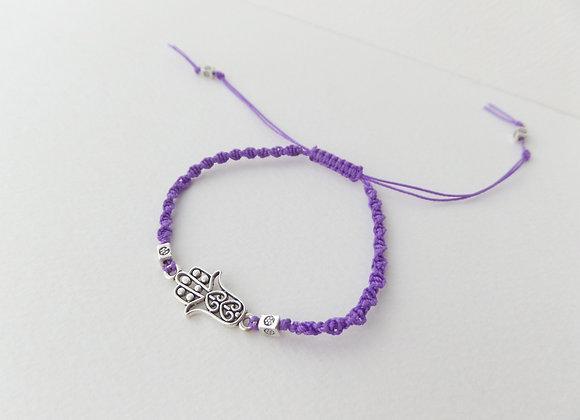 Macrame Hamsa Hand Bracelet, Purple Cord Bracelet, Tibetan Silver