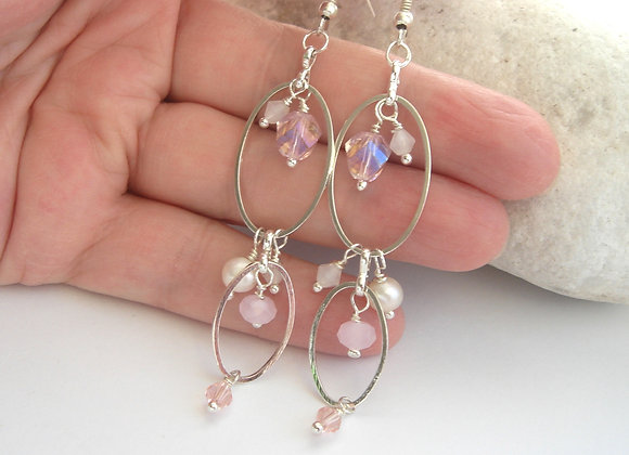 Light Pink Crystal And Pearl Earrings, Long Silver Dangle Earrings