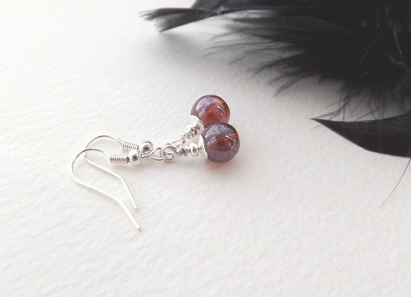 Red/Brown Silver Earrings, Silver Hook Fittings, dangle drops