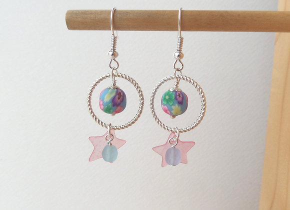 Blue & Pink Earrings, Silver Hook Fittings