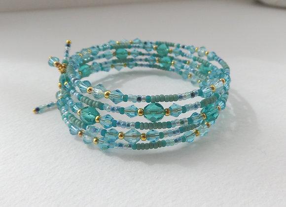 Green And Gold Bangle/bracelet Set