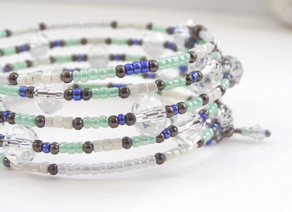 Clear Crystal Silver Bangle/Bracelet, mint blue black.