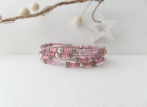 Pink Tibetan Silver Bangle/Bracelet