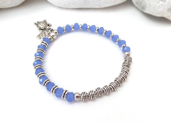 Tibetan Silver Stretch Bracelet, Blue Opal Crystal Elastic Bracelet
