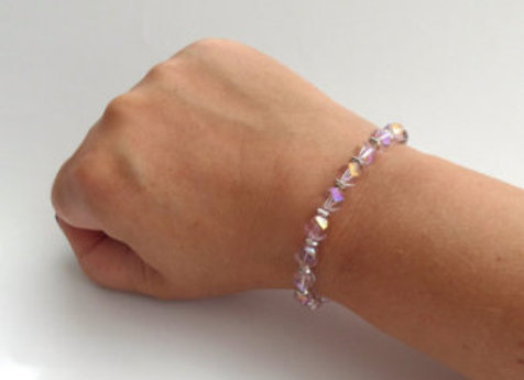 Pink Crystal Bracelet, Pink and Silver Toggle Clasp