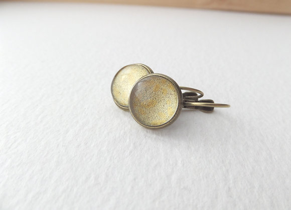 Gold Shimmer Earrings, Antique Bronze Dangle Earrings