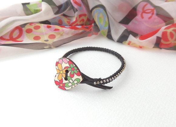 Black Leather Bracelet, Silver Beaded Heart Clasp Bracelet