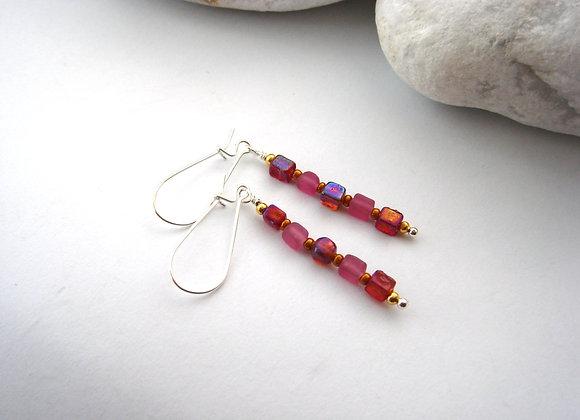Long Red Earrings, raspberry cube Kidney Hook Silver Earrings