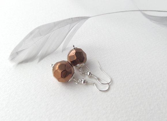 Bronze Czech Glass Earrings, Silver Dangle Earrings