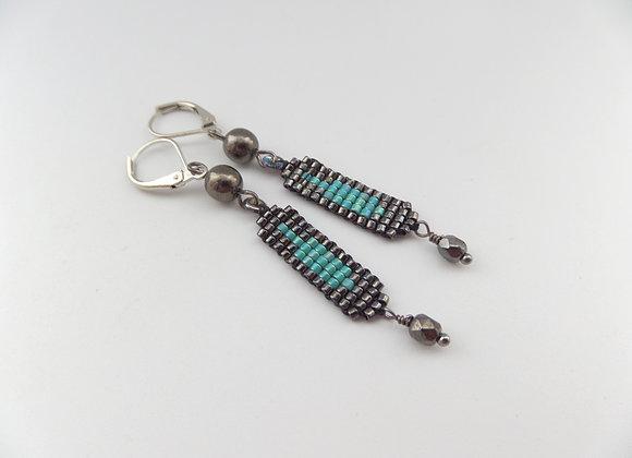 Gunmetal and Turquoise Long Dangle Earrings
