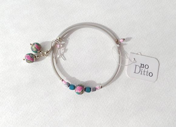 Grey, Teal and Pink, Silver Bangle/Bracelet Set